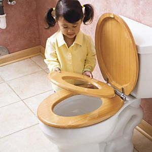"Wooden Family Toilet Seat: Great for small bathrooms! This innovative toilet seat has a built-in child's insert that disappears into the lid when not in use. No separate potty cluttering up space! Bonus: kids like using a ""grown-up"" seat. Made of premium MDF wood, with adjustable hinges. 5-minute assembly. For ages 2 and up."