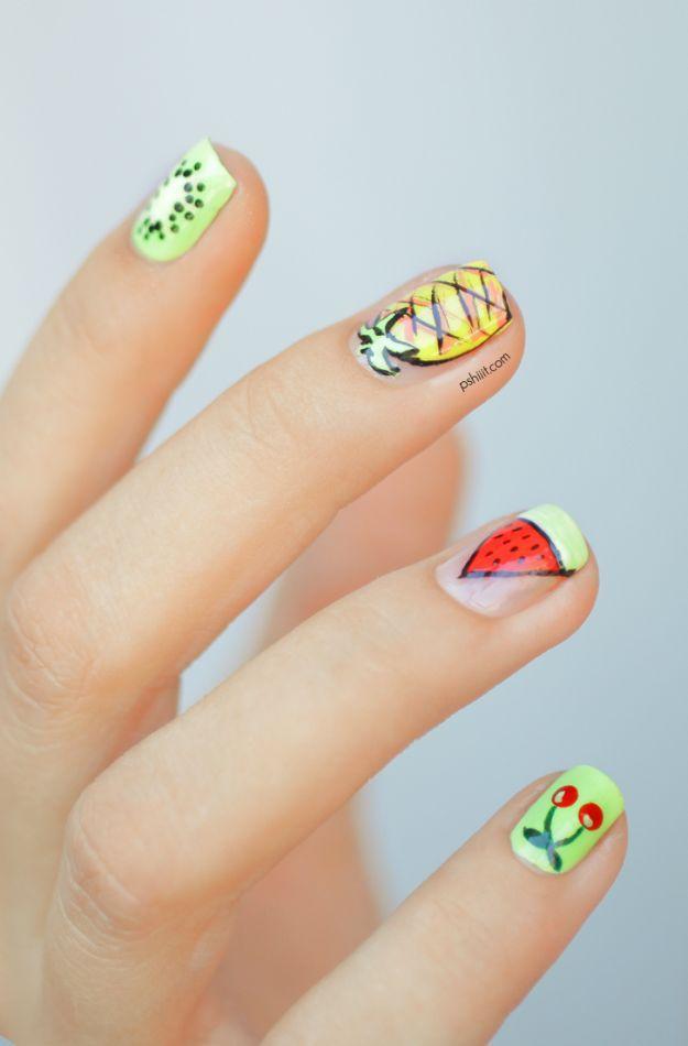 Летний маникюр с рисунками фруктов - киви, ананас, арбуз, вишня ::: onelady.ru ::: #nail #nails #nailart #manicure
