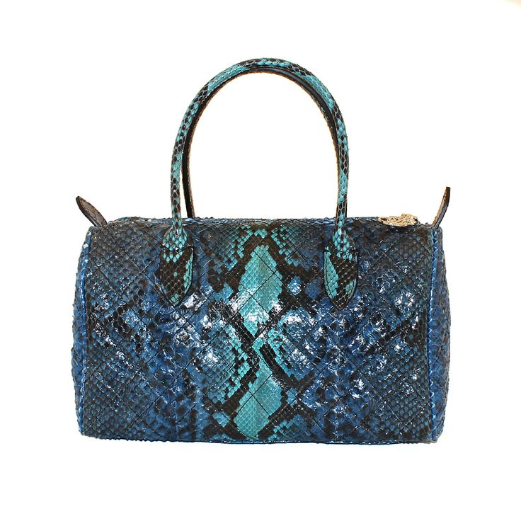 Borsa in vero pitone dipinto a mano e con effetto matelassé - da Salamastra;  Real hand painted python handbag in Baulet style with quilted effect - by Salamastra