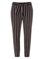 Womens Red and Black Stripe Textured Trousers- Red