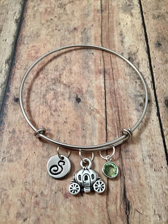 Pumpkin carriage initial bangle with birthstone  princess
