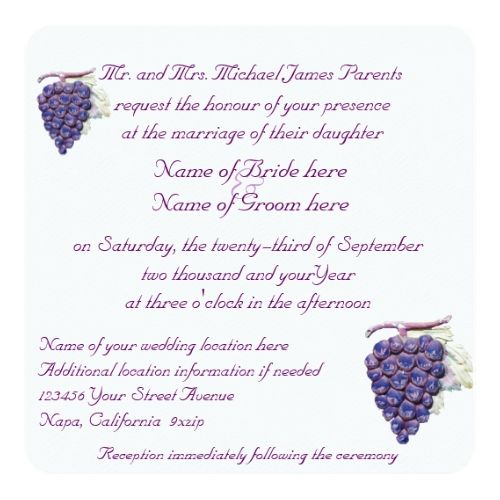 Winery Wedding Save the Date Vineyard Grapes Wedding Invitation