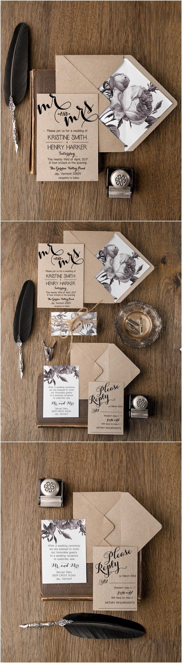 Rustic simple wedding invitations