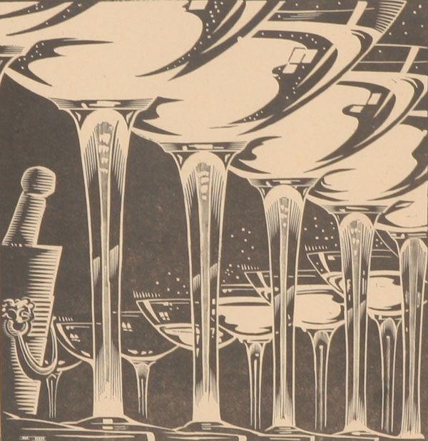 Wood Block Print 1937 Art Deco Champagne Flutes