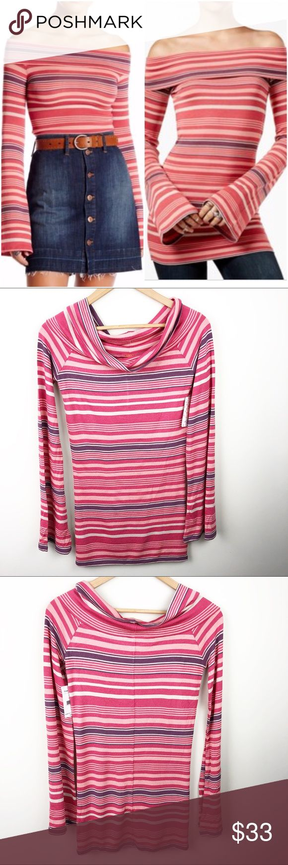 """Free People Portland Striped Long Sleeve Top Brand new with tags!   Free People Portland Striped Long Sleeve Top  size large.   • length 29"""" • arm pit to arm pit 16"""" • 97% viscose 3% spandex  • bell sleeves   (232) Free People Tops"""