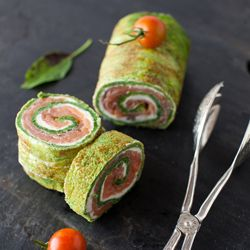 From Garden to Table - Spinach and Basil Smoked Salmon Roll #foodgawker