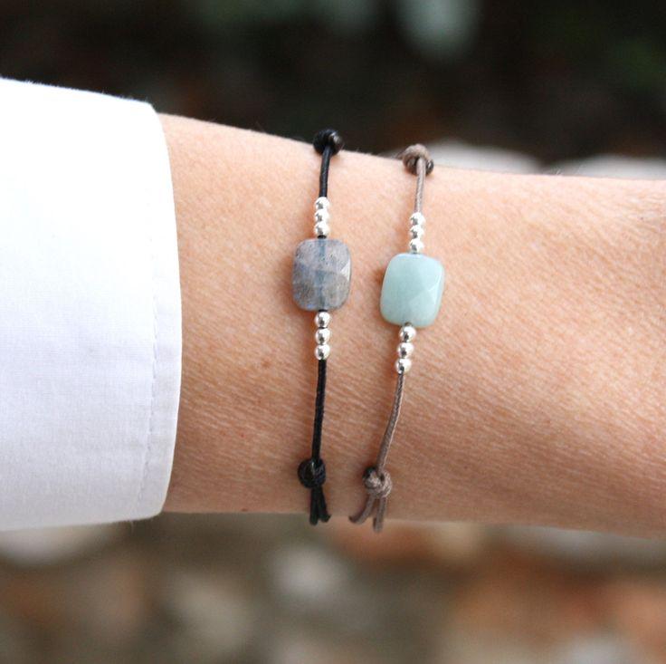 Bracelet cordon rectangle facetté pierre de gemmes à choisir amazonite ou labradorite de la boutique foryoujewels sur Etsy
