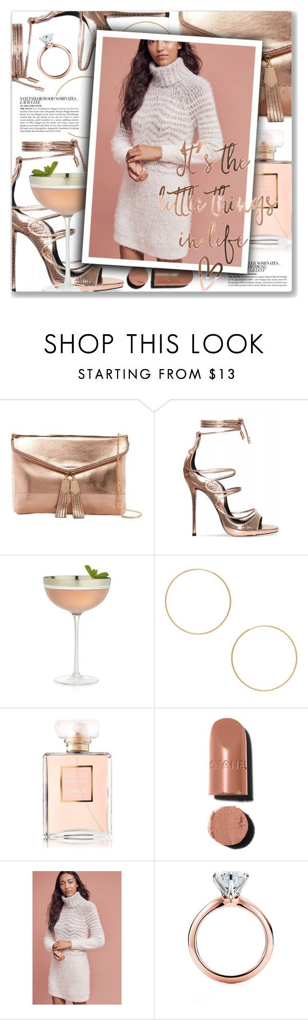 """Eres, Café Tacvba"" by blendasantos ❤ liked on Polyvore featuring Urban Expressions, Crate and Barrel, ERTH, McGinn, Chanel, Sleeping on Snow, Tiffany & Co., rosegold and under100"