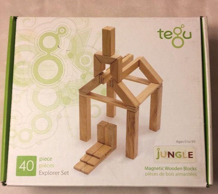 Tegu Magnetic Wooden Block Set Of 33 Jungle Colors Building Blocks Building Toys  | eBay