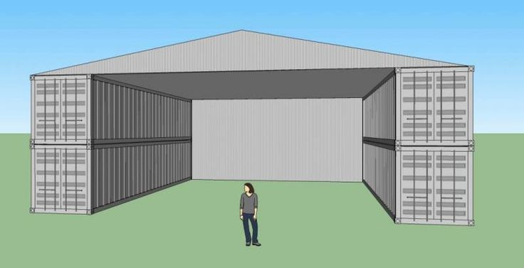 Here's a simple design using four 40' shipping containers to create a workshop/warehouse for working, building and storage. Description from ericwichman.com. I searched for this on bing.com/images