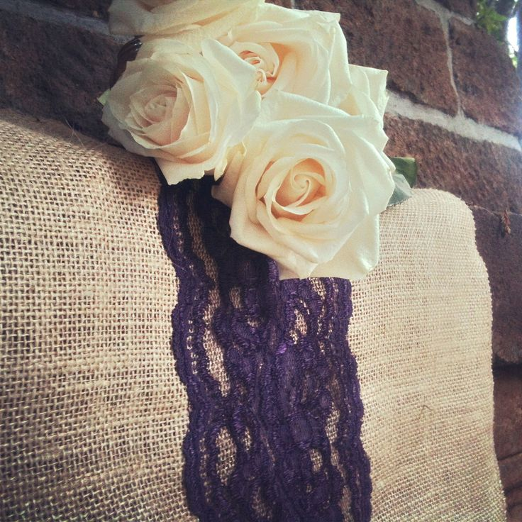 """Natural Burlap Runners trimmed with Purple Lace 12"""" or 15 """"x100"""".   Fall Wedding. Thanksgiving. Winter Wedding. $12.00, via Etsy."""