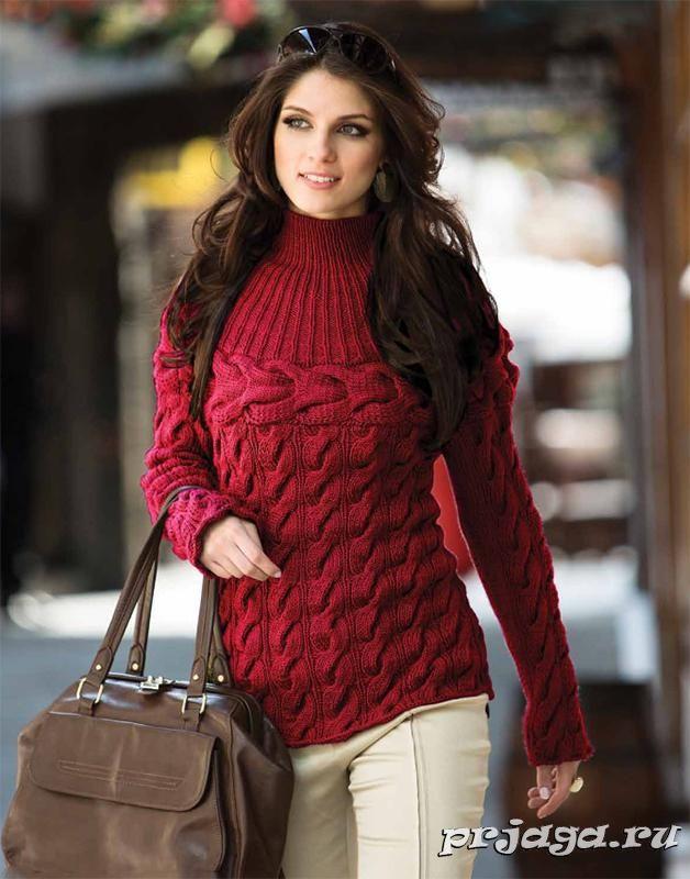 Красный пуловер спицами с косами и круглой кокеткой Красный вязаный пуловер спицами, выполнен косами, двойной поперечной косой и круглой кокеткой – резинкой Размер: S (редактировать размер соответственно выкройке) Материалы: 8 мотков пряжи Cisne Vip (100% акрил, 100 г./170 м.), спицы № 5, круговые спицы № 4.5 Плотность вязания: 18 петель * 24 ряда = 10*10 см. Как вязать пуловер спицами: Спинка: набрать 107 петель. Вязать по схеме 1 – 43 см. Проймы: убавить с каждой стороны в каждом второ...