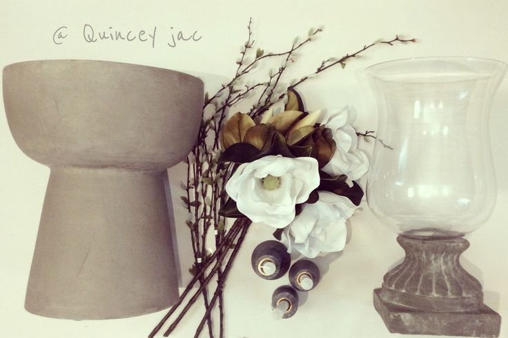 #concrete #stool #blossoms #magnolia #classic #hurricane #candles #homewares #layout #quinceyjac