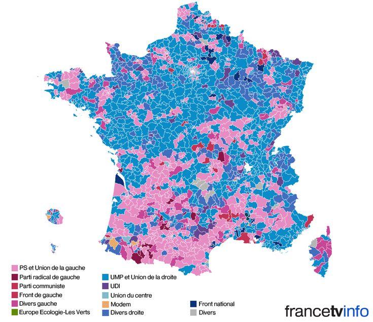 C'est la carte de France des partis politiques au lendemain du second tour des élections départementales. En compilant l'ensemble des résultats définitifs publiés par le ministère de l'Intérieur, lundi 30 mars 2016, francetv info vous propose de visualiser quel parti est arrivé en tête dans chacun des cantons où les Français étaient appelés aux urnes, dimanche.