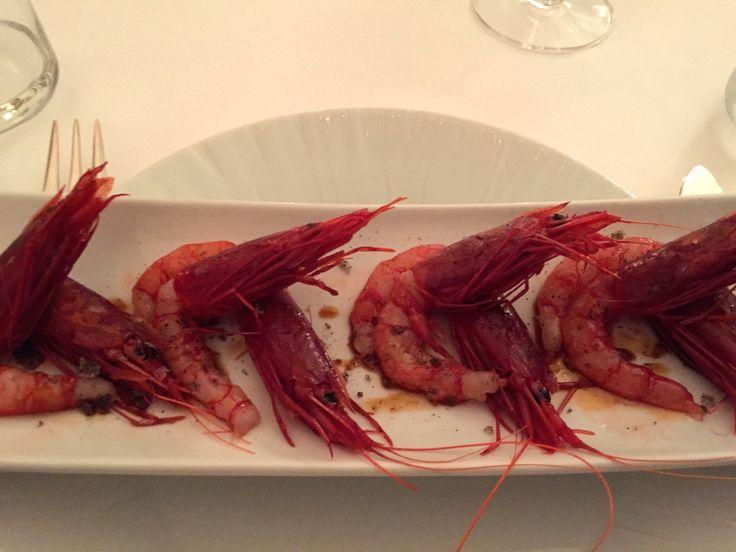 Raw red shrimp appetizer at Massimo Riccioli bistrot in Hotel Majestic in Rome
