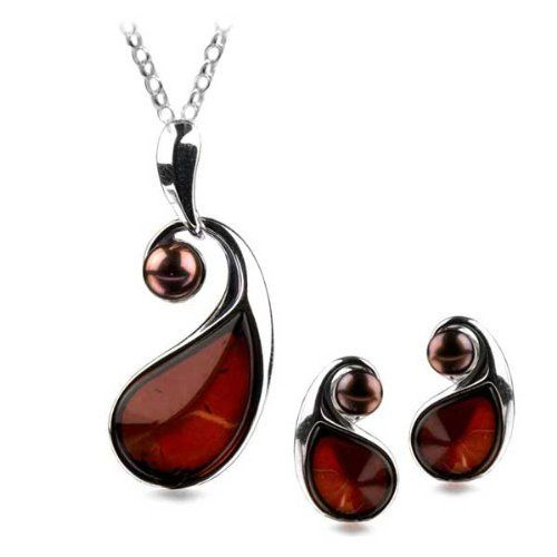 Sterling Silver Red Dark Amber Pearl Teardrop Stud Earrings Necklace Set 18 Inches GRACIANA. $124.98. All amber jewelry designs are from Eastern Europe. Save 49% Off!