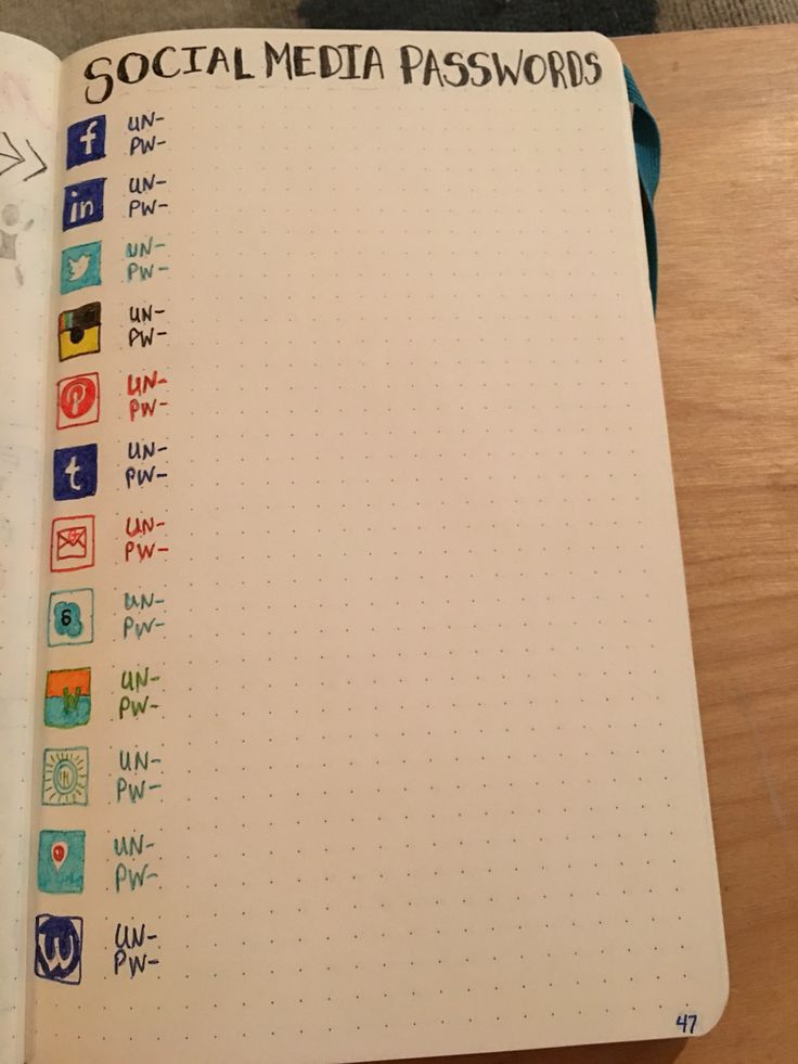Social media passwords page. (Cool Art Ideas)