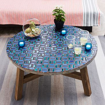 stone mosaic outdoor dining table tile big house cut sides benches chairs tiled top