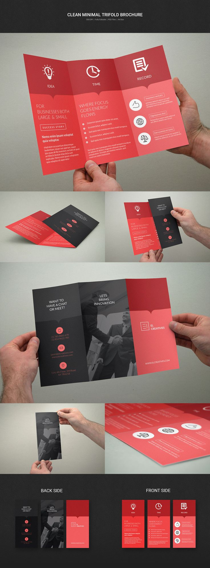 Clean Minimal Trifold Brochure on Behance