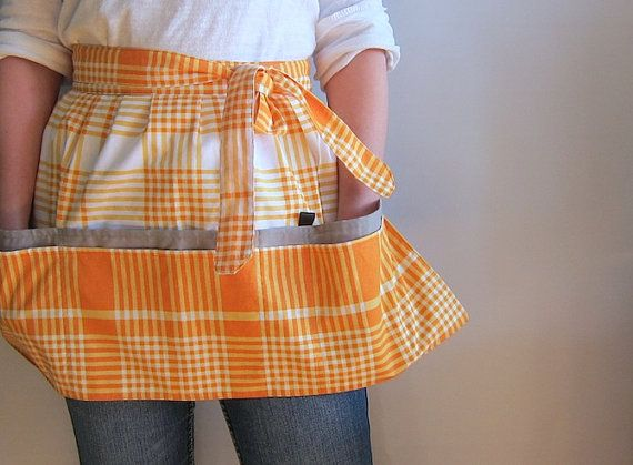 Cafe Apron Hip Apron Half Apron with pockets  Orange by SableEtMer