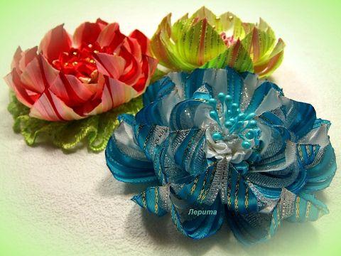 Цветы канзаши  из узкой ленты 0,6 см, лотос мастер класс - YouTube
