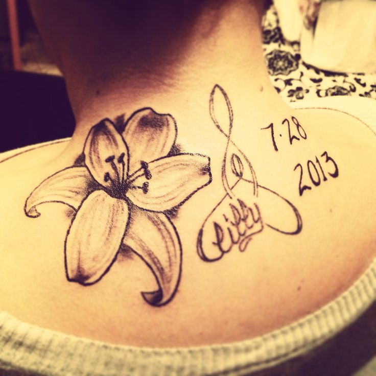 Flower Tattoo With Names: Lily Flower Tattoo Daughter Name Birthday Black And White