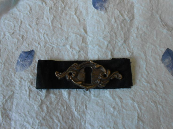 bracciale serratura su gros-grain nero