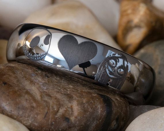 Tungsten Carbide Band 6mm Dome Jack and Sally Heart Design Ring - Wedding band option ???