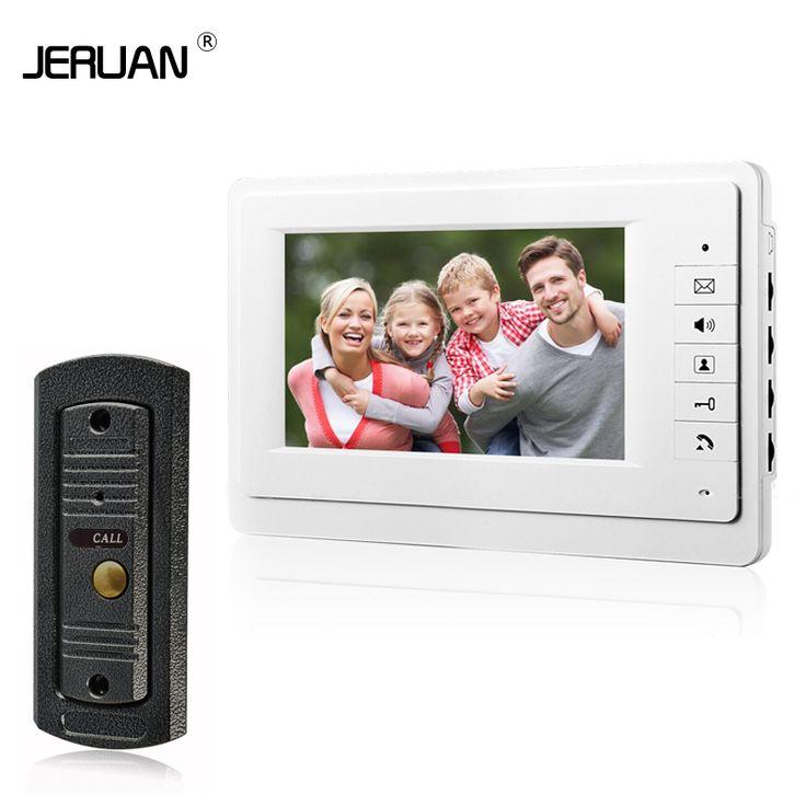 JERUAN 7 ''altavoz de intercomunicación de vídeo portero automático sistema de intercomunicación de vídeo monitor en blanco al aire libre con impermeable y cámara de INFRARROJOS