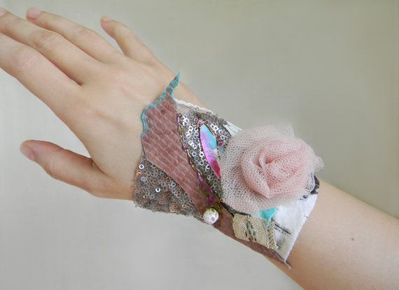 Fabric Collage Bracelet Cuff Textile Art Jewelry by Elyseeart