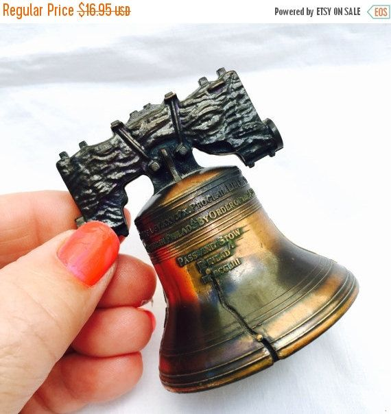 SEPTEMBER SALE LET Freedom Ring Vintage Liberty Bell Copper Souvenir Replica Bell