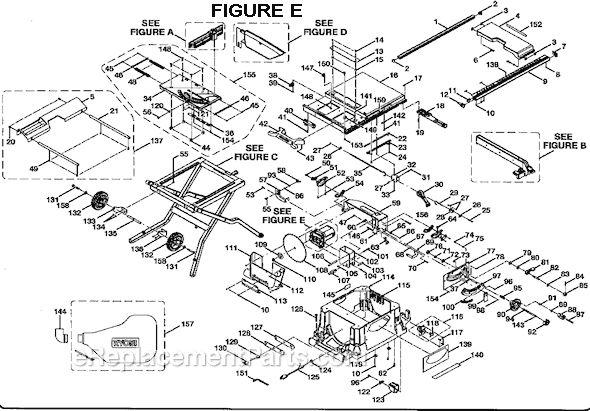 "Ryobi BTS21 10"" Table Saw  schematics Page E"