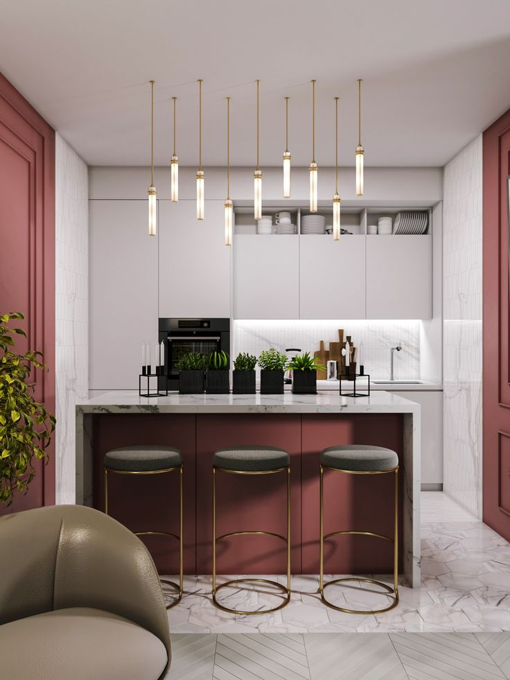 Verbazingwekkend Dark Ters kitchen island with brass Art Deco lamps in kitchen JB-02