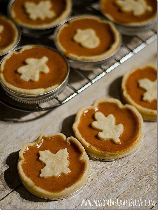 … baked in mason jar lids.  That's right.  I made these mini pumpkin pies using mason jar lids.  They're like little spring form pans …   I ...