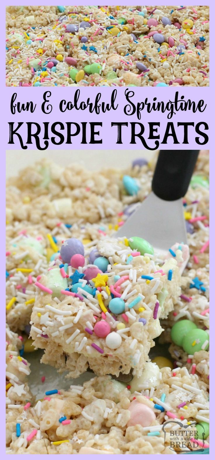 Super fun & easy to make, these Spring Krispie Treats are amazing! The extra butter and marshmallows helps too I'm sure. LOVE the added sprinkles! Easy dessert recipe from Butter With A Side of Bread via @ButterGirls