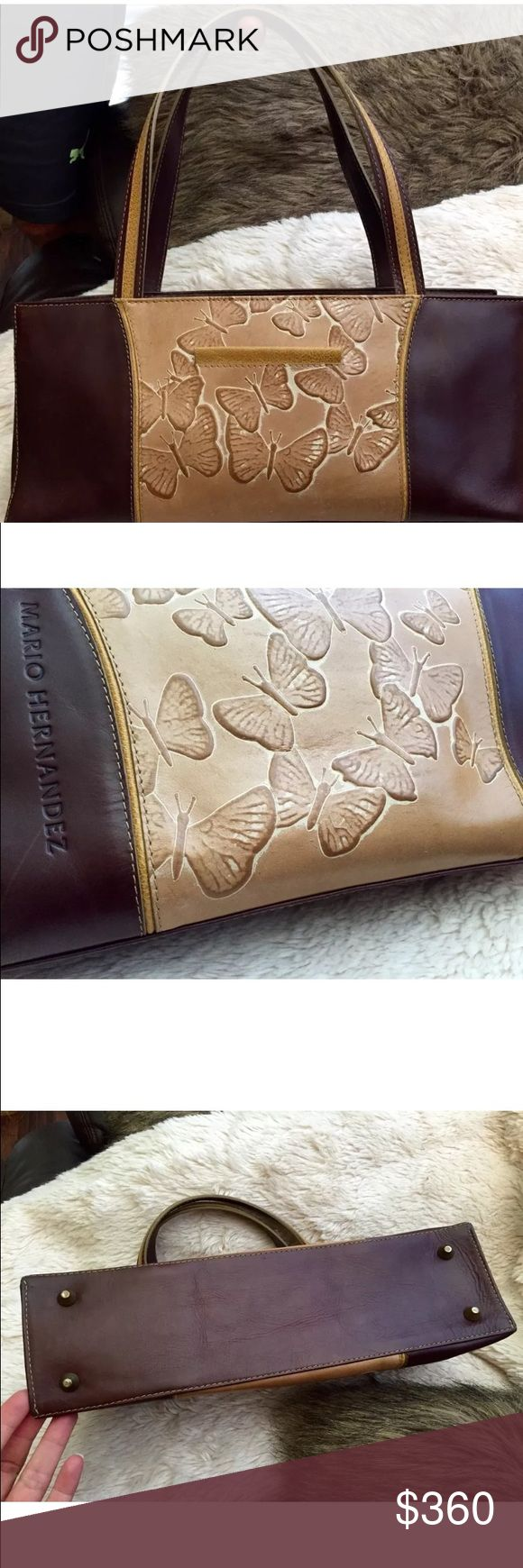 MH Embossed Butterflies Brown Leather Handbag Pre- Adored Mario Hernandez Leather Handbag. Embossed butterfly details. Single Magnetic Closure. Hand stiched excellent quality leather. Immaculate condition. Please check out my other Mario Hernandez Mariposa Collection items. Thanks!  Mario Hernandez Bags Shoulder Bags