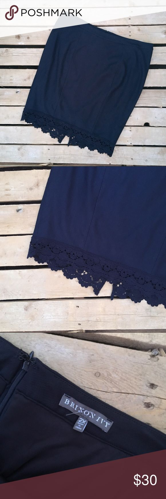 BRIXON IVY STICH FIX navy pencil skirt Lace 2x New without tags  This is from a Stitch Fix Collection  Bundle and save I'll send a private offer after you bundle.  BRIXON IVY Skirts Pencil