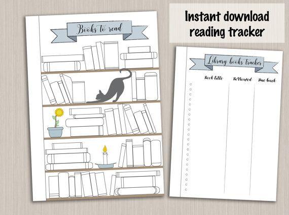 Bullet journal template : reading planner template reading log tracker - bujo bullet journal pages - bullet journal printable insert