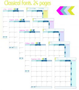 2 Page Month At A Glance Academic Calendars New Beginnings Collage 1 263x300 Step 2. Choose Calendar/Appointment Keepers