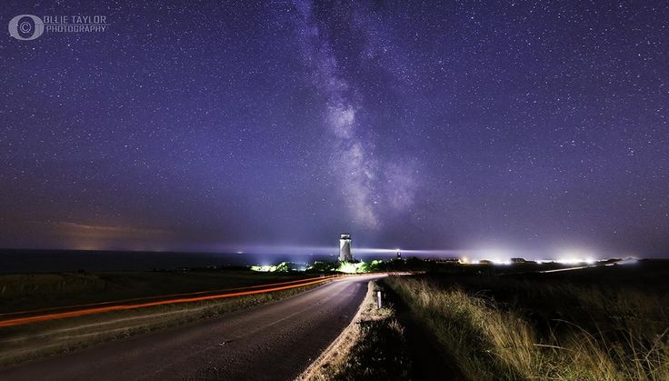 Landscape astrophotography  The 2 Lighthouses.  Availalbe framelss in high quality Fuji paper mounted behind acrylic glass any size!