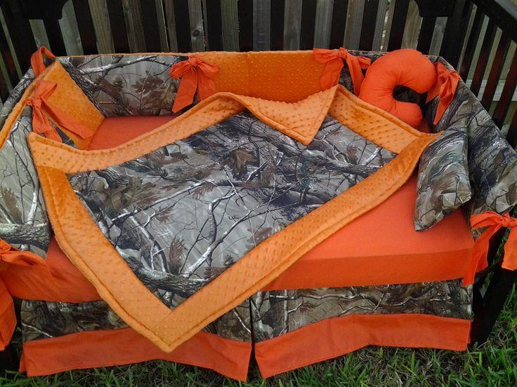 New brown real tree CAMOUFLAGE baby crib bedding set w/ orange minky dot fabrics camo. $325.00, via Etsy.