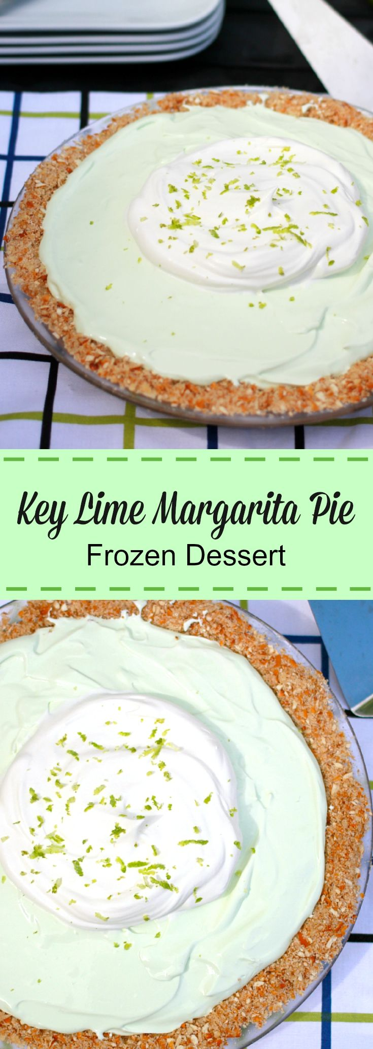 Key Lime Margarita Pie is the ideal easy summer {frozen} dessert. Simple to make and tastes just like lime ice cream, without the excess calories.