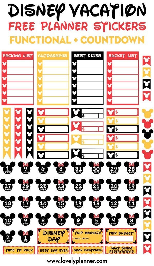Free Printable Disney Vacation Planner Stickers Countdown Functional Stickers Happy Planner Printables Disney Planner Disney Vacation Planner