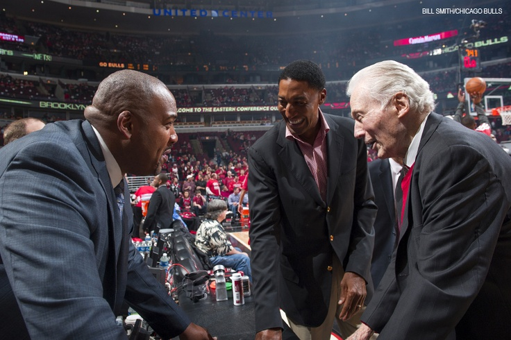 Former Bulls assistant coach from '91-'93, Johnny Bach shares a laugh with a few of his former players, Scottie Pippen (now Special Advisor to the President and C.O.O.) and Stacey King (now Bulls Television Analyst.) at Game 3 of the #BKNvsCHI Playoff Series. #SeeRed