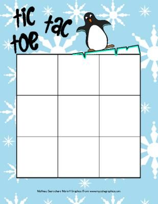 Winter Tic Tac Toe (game to print) from Matthew Morin on TeachersNotebook.com -  (2 pages)  - Here's a winter Tic Tac Toe game! You only have to print and laminate it!  Note : You can use real figures to play, it's even more fun!