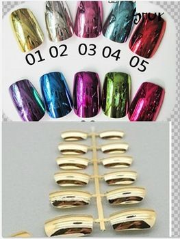 Free Shipping Wholesale Nail Supplies 10 colour Metallic Chrome Gold Full Cover Artificial False Acrylic Nail Tips 50sets/bag $19