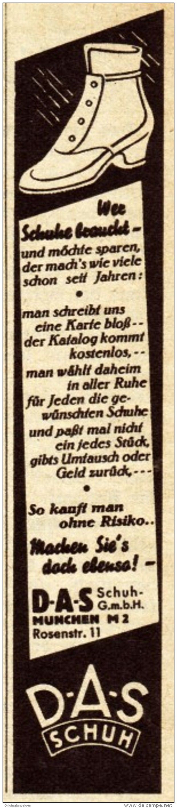 Original-Werbung / Anzeige 1938 - D-A-S SCHUH GMBH MÜNCHEN - ca. 25 x 110 mm