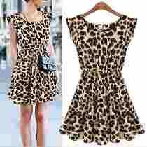 Vestido Curto Casual Estampa Leopardo Em Malha Fria