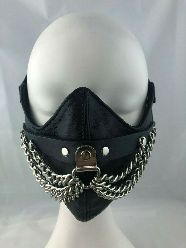 Black leather w silver chains half mask cosplay horror