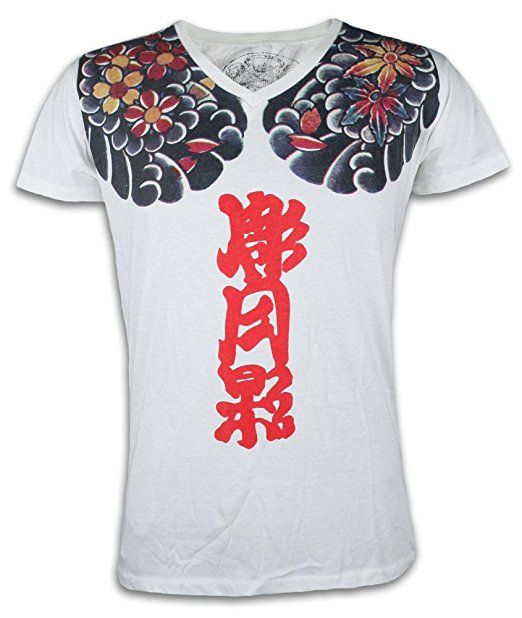 Ako Roshi Herren T-Shirt Akuma - Dämon Kampfsport Tattoo Japan MMA (Weiß M)
